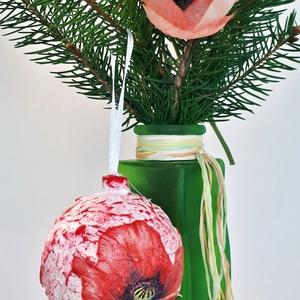 Pipacs üveggömb, karácsonyfadísz, különleges karácsonyi ajándék és dekoráció pipacs imádóknak. , Karácsonyfadísz, Karácsony & Mikulás, Otthon & Lakás, Festett tárgyak, Pipacs üveggömb, karácsonyfadísz, különleges karácsonyi ajándék és dekoráció pipacs imádóknak.\n\nA gö..., Meska