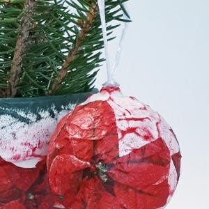 Mikulásvirág üveggömb, mikulásvirágos karácsonyfadísz, különleges karácsonyi ajándék és dekoráció virág imádóknak. , Karácsonyfadísz, Karácsony & Mikulás, Otthon & Lakás, Festett tárgyak, Mikulásvirágos üveggömb, mikulásvirág karácsonyfadísz, különleges karácsonyi ajándék és dekoráció vi..., Meska