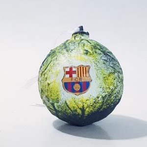 Fc Barcelona, karácsonyfa gömb, karácsonyfa dísz foci rajongói ajándék, karácsonyi ajándék, mikulás, adventi meglepi, Karácsony & Mikulás, Karácsonyfadísz, Decoupage, transzfer és szalvétatechnika, Fc Barcelona, Barca karácsonyfa gömb, karácsonyfa dísz futball, foci rajongói ajándék, karácsonyi aj..., Meska