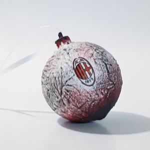 AC Milan karácsonyfa gömb, karácsonyfa dísz foci rajongói ajándék, karácsonyi ajándék, mikulás, adventi meglepi, Karácsony, Karácsonyfadíszek, Decoupage, transzfer és szalvétatechnika, Meska