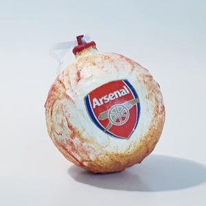 Arsenal karácsonyfa gömb, karácsonyfa dísz foci rajongói ajándék, karácsonyi ajándék, mikulás, adventi meglepi, Karácsony, Karácsonyi lakásdekoráció, Karácsonyfadíszek, Decoupage, transzfer és szalvétatechnika, Meska