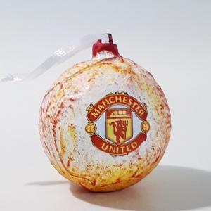 Manchester United karácsonyfa gömb, karácsonyfa dísz foci rajongói ajándék, karácsonyi ajándék, mikulás, adventi meglepi, Karácsonyfadísz, Karácsony & Mikulás, Otthon & Lakás, Decoupage, transzfer és szalvétatechnika, Manchester United karácsonyfa gömb, karácsonyfa dísz futball, foci rajongói ajándék, karácsonyi aján..., Meska