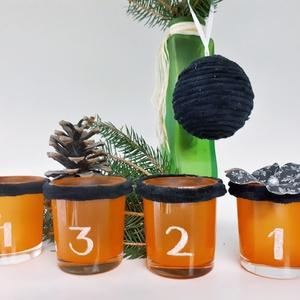Adventi narancs gravírozott sötétben világító üveg mécses szett teamécsessel zsenília borítással, adventi asztali dísz., Adventi koszorú, Karácsony & Mikulás, Otthon & Lakás, Mindenmás, Gravírozás, pirográfia, Adventi narancs gravírozott sötétben világító üveg mécses szett teamécsessel zsenília borítással, ad..., Meska