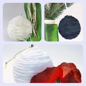 Fehér, fekete, zöld zsenília puha fonál karácsonyfa gömb, karácsonyi dísz, karácsonyfa dísz, karácsonyi ajándék, Karácsonyfadísz, Karácsony & Mikulás, Otthon & Lakás, Mindenmás, Fehér, fekete, zöld zsenília puha fonál karácsonyfa gömb, karácsonyi dísz, karácsonyfa dísz, karácso..., Meska
