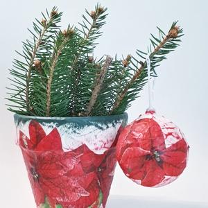 Mikulásvirágos kaspó + mikulásvirág üveggömb, mikulásvirágos karácsonyfadísz, különleges karácsonyi ajándék és dekoráció, Karácsony & Mikulás, Otthon & Lakás, Karácsonyi dekoráció, Decoupage, transzfer és szalvétatechnika, Mikulásvirágos kaspó + mikulásvirág üveggömb, mikulásvirágos karácsonyfadísz, különleges karácsonyi ..., Meska