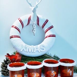 Fehér - piros karácsonyi zsenília szarvasos koszorú ajtódísz kopogtató szobadísz+ üveg gravírozott adventi mécses szett., Otthon & Lakás, Karácsony & Mikulás, Karácsonyi dekoráció, Mindenmás, Fehér - piros karácsonyi zsenília szarvasos hópelyhes koszorú, ajtódísz, kopogtató, szobadísz + üveg..., Meska