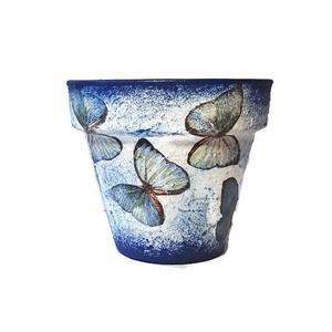 Kék pillangó kaspó, virágtartó, virágcserép bármilyen alkalomra:  pedagósunapra, búcsúztatóra, ballagásra, házavatóra, Otthon & Lakás, Dekoráció, Virágtartó, Decoupage, transzfer és szalvétatechnika, Kék pillangó kaspó, virágtartó, virágcserép bármilyen alkalomra:  pedagósunapra, búcsúztatóra, balla..., Meska