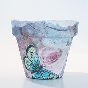 Kék pillangó Párizs kaspó virágtartó virágcserép bármilyen alkalomra pedagósunapra, búcsúztatóra, ballagásra, házavatóra, Otthon & Lakás, Dekoráció, Virágtartó, Decoupage, transzfer és szalvétatechnika, Meska