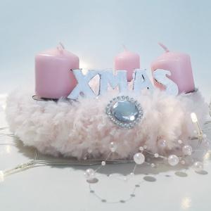 Pink szőrmés fehér gyöngyös adventi koszorú, ünnepi asztali dísz, szobadísz, mikulás ajándék, karácsonyi dekoráció., Adventi koszorú, Karácsony & Mikulás, Otthon & Lakás, Mindenmás, Pink szőrmés fehér gyöngyös adventi koszorú, ünnepi asztalidísz, szobadísz, mikulás ajándék, karácso..., Meska