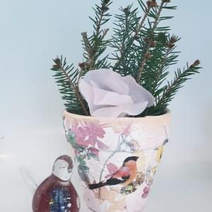Madaras agyag cserép, kaspó, virágtartó ajándék szülinapra, névnapra, madár kedvelőknek, őszi-tavaszi dekoráció, Otthon & Lakás, Ház & Kert, Cserép & Kaspó, Decoupage, transzfer és szalvétatechnika, Madaras agyag cserép, kaspó, virágtartó ajándék szülinapra, névnapra, házavatóra madár kedvelőknek, ..., Meska