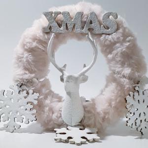 Pink szőrmés fehér hópelyhes rénszarvasos ajtódísz, kopogtató szobadísz, mikulás ajándék, karácsonyi dekoráció., Otthon & Lakás, Karácsony & Mikulás, Karácsonyi kopogtató, Mindenmás, Pink szőrmés fehér hópelyhes rénszarvasos ajtódísz, kopogtató szobadísz, mikulás ajándék, karácsonyi..., Meska