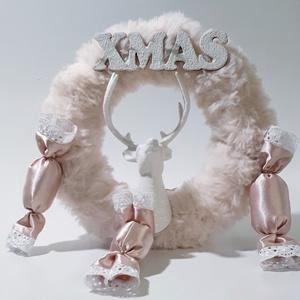 Pink szőrmés rénszarvasos selyem szaloncukros illatos ajtódísz kopogtató szobadísz mikulás ajándék karácsonyi dekoráció, Otthon & Lakás, Karácsony & Mikulás, Karácsonyi kopogtató, Mindenmás, Pink szőrmés rénszarvasos selyem szaloncukros illatos ajtódísz kopogtató szobadísz mikulás ajándék k..., Meska