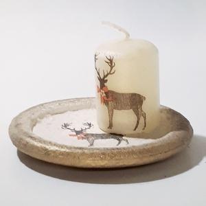 Rénszarvas karácsonyi gyertyatartó szarvas gyertyával sötétben fluoreszkáló hatással, ünnepi asztali dísz, dekoráció., Otthon & Lakás, Karácsony & Mikulás, Karácsonyi dekoráció, Decoupage, transzfer és szalvétatechnika, Rénszarvas karácsonyi gyertyatartó sötétben fluoreszkáló hatással, ünnepi asztali dísz, ünnepi dekor..., Meska