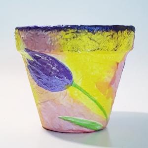 Tulipános virágos kaspó, virágtartó bármilyen alkalomra virág mellé: névnapra, szülinapra, anyáknapjára, Otthon & Lakás, Ház & Kert, Cserép & Kaspó, Decoupage, transzfer és szalvétatechnika, Tulipános virágos kaspó, virágtartó virágcserép bármilyen alkalomra virág mellé: névnapra, szülinapr..., Meska