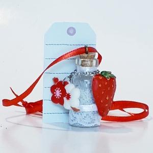 Üveg szelence piros fehér virágos epres nyaklánc holdkő ásvánnyal szülinapra névnapra karácsonyra adventre mikulásra, Ékszer, Nyaklánc, Medálos nyaklánc, Üveg szelence piros-fehér virágos epres nyaklánc holdkő ásvánnyal gyönggyel szülinapra, névnapra, ka..., Meska