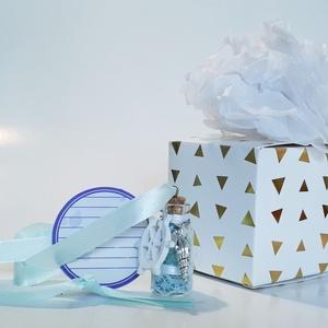 Üveg szelence kék-fehér fém kagyló+fa függő nyaklánc holdkő ásvánnyal szülinapra névnapra karácsonyra adventre mikulásra, Ékszer, Nyaklánc, Medálos nyaklánc, Üveg szelence vintage kék-fehér fém kagyló + fa fa kormánykerék függős nyaklánc holdkő  ásvánnyal sz..., Meska