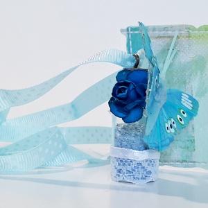 Üveg szelence kék virágos pillangós nyaklánc holdkő ásvánnyal szülinapra névnapra karácsonyra adventre mikulásra, Ékszer, Nyaklánc, Medálos nyaklánc, Üveg szelence kék virágos pillangós kék lepkés nyaklánc holdkő  ásvánnyal szülinapra, névnapra, kará..., Meska