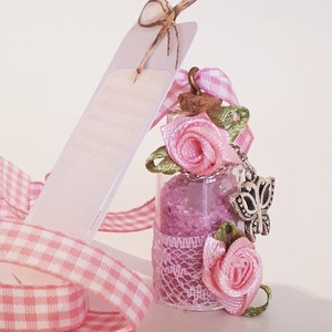 Üveg szelence pink nyaklánc fém pillangó + rózsakvarc ásvánnyal szülinapra, névnapra, karácsonyra, adventre, mikulásra. , Ékszer, Nyaklánc, Medálos nyaklánc, Üveg szelence pink nyakálnc fém pillangó függővel rózsakvarc ásvánnyal gyönggyel szülinapra, névnapr..., Meska