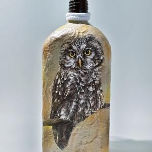 Bagoly decoupage italos dísz-és használati üveg őszi dekoráció, ballagási emlék, ajándék. , Otthon & Lakás, Dísztárgy, Dekoráció, Bagoly decoupage italos dísz-és használati üveg, őszi asztalidísz, dekoráció. Ballagási emlék, ajánd..., Meska
