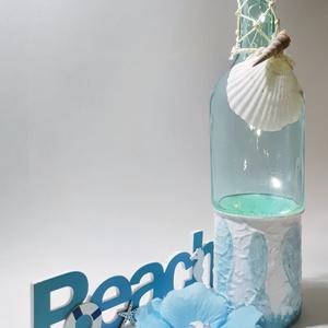 Halas festett, hálós, kagylós világító ledes üveg lakásdekoráció, dísz és használati üveg halat, horgászatot kedvelőknek, Otthon & Lakás, Dekoráció, Díszüveg, Újrahasznosított alapanyagból készült termékek, Festett tárgyak, Halas festett, hálós, kagylós világító ledes üveg lakásdekoráció, dísz és használati üveg halat, hor..., Meska