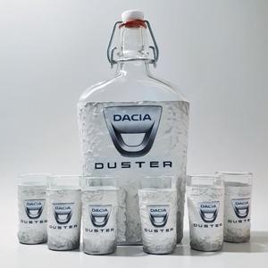 Dacia duster autó rajongói dísz- és használati üveg és röviditalos pohárszett autó rajongói ajándék szülinapra, névnapra, Otthon & Lakás, Dekoráció, Díszüveg, Decoupage, transzfer és szalvétatechnika, Dacia Duster autó rajongói dísz- és használati üveg és röviditalos pohárszett autó rajongói ajándék ..., Meska