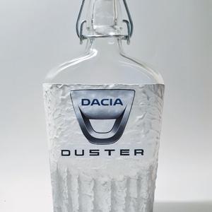 Dacia duster autó rajongói dísz- és használati üveg autó rajongói ajándék szülinapra, névnapra, Otthon & Lakás, Dekoráció, Díszüveg, Decoupage, transzfer és szalvétatechnika, Dacia Duster autó rajongói dísz- és használati üveg autó rajongói ajándék szülinapra, névnapra, kará..., Meska