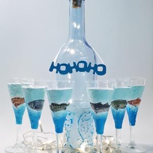 Halas festett, világító ledes üveg röviditalos pohárral kásdekoráció, dísz és használati üveg horgászatot kedvelőknek