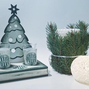 FTC karácsonyi  fa tálcás ital kínáló röviditalos poharakkal FTC foci rajongói ajándék férfiaknak, férjeknek karácsonyra, Otthon & Lakás, Konyhafelszerelés, Pohár, Decoupage, transzfer és szalvétatechnika, FTC karácsonyi  fa tálcás ital kínáló röviditalos poharakkal FTC foci rajongói ajándék férfiaknak, f..., Meska