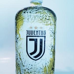 Juventus foci rajongói lapos italos dísz- és használati borosüveg, pálinkásüveg szülinapra, névnapra..., Otthon & Lakás, Dekoráció, Díszüveg, Juventus foci rajongói lapos italos dísz- és használati pálinkás boros üveg. (750 ml-1 l )  Ital és ..., Meska
