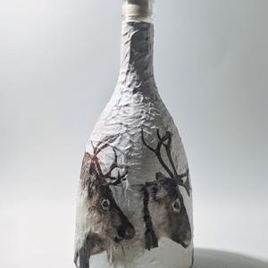 Rénszarvas italosüveg pálinkás üveg boros üveg díszüveg vadászoknak erdészeknek szarvas motívummal karácsonyra. , Otthon & Lakás, Dekoráció, Díszüveg, Rénszarvas italosüveg pálinkás üveg boros üveg díszüveg vadászoknak erdészeknek szarvas motívummal k..., Meska