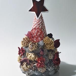 Karácsonyi asztali dísz, szárított terméksekkel és piros csillaggal, Karácsony, Karácsonyi lakásdekoráció, Ünnepi asztaldekoráció, Mindenmás, Meska
