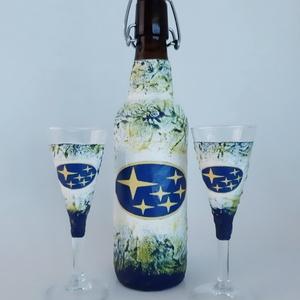 SUBARU italos üveg, SUBARU rajongói ajándék + röviditalos pohár szülinapra, névnapra, karácsonyra akár saját fotóddal is, Otthon & Lakás, Konyhafelszerelés, Pohár, SUBARU italos üveg, SUBARU rajongói ajándék + röviditalos pohár szülinapra, névnapra, karácsonyra ak..., Meska