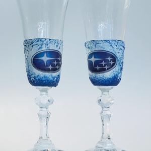 Subaru pezsgős 2 db-os pohárszett autó rajongói ajándékl, Otthon & Lakás, Pohár, Konyhafelszerelés, Subaru pezsgős 2 db-os pohárszet autó rajongói ajándék.  A poharak felső része gravírozott mintás.  ..., Meska