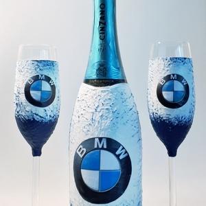 BMW logós pezsgő Asti Cinzano pezsgő BMW rajongói ajándék pezsgős pohárral szülinapra, névnapra, karácsonyra., Otthon & Lakás, Dekoráció, Díszüveg, Decoupage, transzfer és szalvétatechnika, Meska