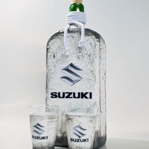 SUZUZI italos üveg, pálinkás üveg, SUZUKI rajongói ajándék pálinkás poharakkal szülinapra, névnapra, karácsonyra.  - Meska.hu