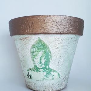 Buddha kaspó, agyag cserép, virágtartó,  Buddha  spirituális ajándék , Buddha lakberendezési tárgy. , Otthon & Lakás, Ház & Kert, Cserép & Kaspó, Decoupage, transzfer és szalvétatechnika, Buddha kaspó, agyag cserép, virágtartó,  Buddha  spirituális ajándék , Buddha lakberendezési tárgy. ..., Meska