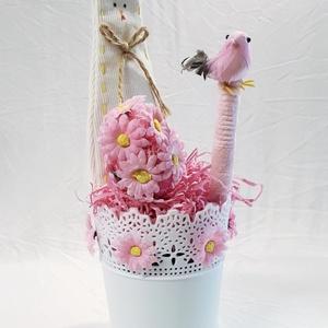 Húsvéti nyuszis, madaras asztalidísz, margaréta húsvéti tojással, rózsaszín tavaszi dekoráció, húsvéti ajándék. , Otthon & Lakás, Dekoráció, Asztaldísz, Húsvéti nyuszis, madaras asztalidísz, margaréta húsvéti tojással, rózsaszín tavaszi dekoráció, húsvé..., Meska