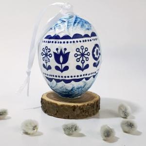 Kék virágos húsvéti tojás, skandináv mintás locsoló ajándék, meglepetés tojás, nem csak húsvétra, névnapra, szülinapra,, Otthon & Lakás, Dekoráció, Függődísz, Decoupage, transzfer és szalvétatechnika, Meska