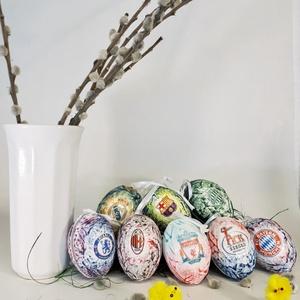 Futball rajongói húsvéti tojás, locsoló ajándék, meglepetés tojás, nem csak húsvétra, névnapra, szülinapra, gyermeknapra, Otthon & Lakás, Dekoráció, Függődísz, Decoupage, transzfer és szalvétatechnika, Futball rajongói húsvéti tojás, locsoló ajándék, meglepetés tojás, nem csak húsvétra, névnapra, szül..., Meska