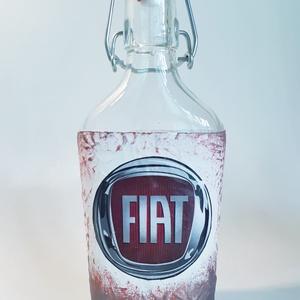 FIAT csatos üveg, italos üveg, pálinkás üveg, FIAT rajongói ajándék születésnapra, névnapra, karácsonyra., Otthon & Lakás, Dekoráció, Díszüveg, Decoupage, transzfer és szalvétatechnika, Meska
