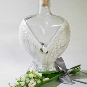 Ezüst szív üveg, váza, asztalidísz, egyedi ajándék anyáknapjára, pedagógusnapra, névnapra, születésnapra.  - Meska.hu