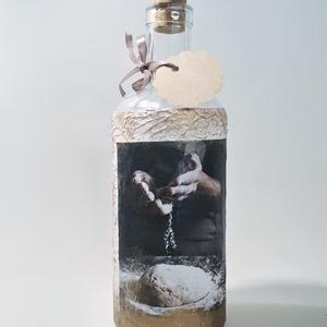 Pálinkás üveg pék mesternek, italos üveg képes egyedi ajándék férfiaknak születésnapra, névnapra, karácsonyra., Otthon & Lakás, Dekoráció, Díszüveg, Decoupage, transzfer és szalvétatechnika, Pálinkás üveg pék mesternek, italos üveg képes egyedi ajándék férfiaknak születésnapra, névnapra, ka..., Meska