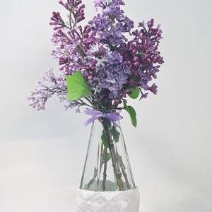 Lila festett üveg váza, tavaszi váza egy szál virágnak, névnapi-, szülinapi- búcsúztató ajándék, megleptetés., Otthon & Lakás, Dekoráció, Váza, Festett tárgyak, Meska