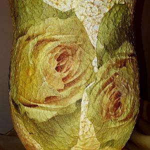 Sárga rózsás váza esküvőre, eljegyzésre, házassági évfordulóra, nászajándékba., Otthon & Lakás, Váza, Dekoráció, Decoupage, transzfer és szalvétatechnika, Meska