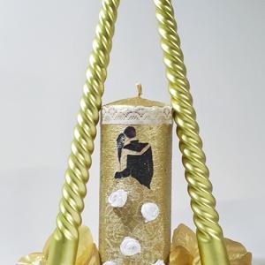 Mr. and Mrs. menyasszony és vőlegény arany dekor gyertyagyújtás szett esküvőre, eljegyzésre, évfordulóra , Esküvő, Dekoráció, Gyertya & Gyertyatartó, Decoupage, transzfer és szalvétatechnika, Meska