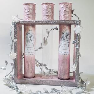 Mr. and Mrs. ezüst - rózsaszín kémcsöves homokceremónia szett fa tartóban, homok kiöntő kellékek, esküvői homokszórás - Meska.hu