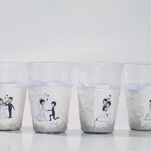 Mr and Mrs vőlegényes, menyasszonyos pálinkás pohárszett ajándék esküvőre, nászajándék, esküvői dekoráció, Esküvő, Emlék & Ajándék, Nászajándék, Decoupage, transzfer és szalvétatechnika, Mr and Mrs vőlegényes, menyasszonyos pálinkás pohárszett, ajándék esküvőre, nászajándék, esküvői dek..., Meska
