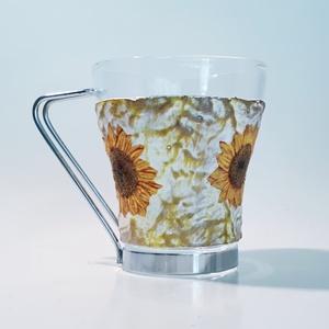 Napraforgó kávés pohár, teás pohár, cappucinos pohár, szülinapi ajándékötlet, napraforgó lakásdekoráció.  - Meska.hu