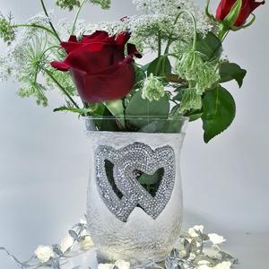 Szív strasszos ezüst-fehér váza, esküvői asztali dekoráció, asztalidísz, nászajádnék, ajándék esküvőre. , Esküvő, Dekoráció, Asztaldísz, Decoupage, transzfer és szalvétatechnika, Meska