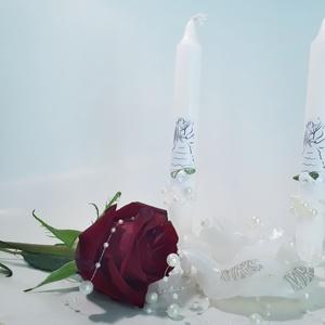Fehér rózsa mr and mrs gyertyagyújtás szett, vőlegényes, menyaszonyos asztali dekoráció, nászajádnék, ajándék esküvőre. , Esküvő, Dekoráció, Gyertya & Gyertyatartó, Mindenmás, Meska